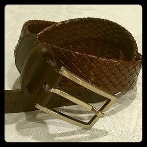 Brooks Brothers leather weave belt EUC 40